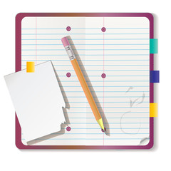 Set of isolated realistic empty vector paper poster mockup notes sticky notebook and pieces of paper with a pencil.