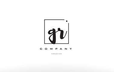 gr g r hand writing letter company logo icon design