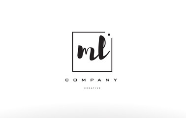 ml m l hand writing letter company logo icon design
