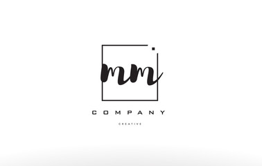 mm m m hand writing letter company logo icon design