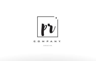 pr p r hand writing letter company logo icon design