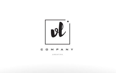 vl v l hand writing letter company logo icon design