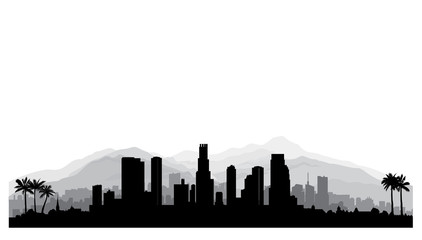Los Angeles, USA skyline. City silhouette with skyscraper buildings, mountains and palm trees. Famous american cityscape