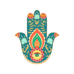 Indian hand drawn hamsa hand.