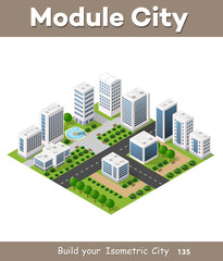 Isometric urban set of the city infrastructure town, street modern, real structure, architecture 3d elements different buildings