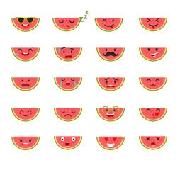 Emoticons food vector set. Emoji Watermelon with face. Cute emoji colorfull illustration. Watermelon, flat cartoon style