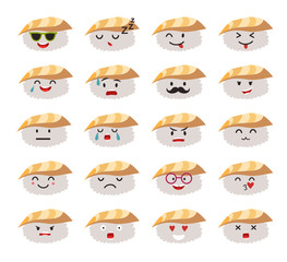Funny sushi characters vector set. Funny sushi with cute faces emoticons. Happy sashimi with acne. Emoji flat cartoon style. Asian food, vector illustration isolated on white background