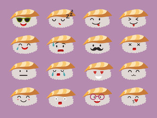 Emoticons sushi characters vector set. Funny sushi with cute faces emoticons. Happy sashimi with acne. Emoji flat cartoon style. Asian food