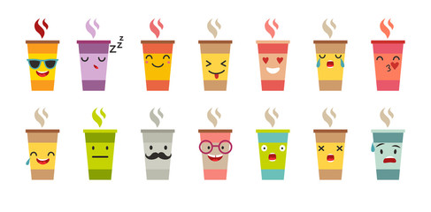 Cup of coffee/tea vector set. Cartoon cute mug with face emoticons. Coffee cup logo funny stickers, flat cartoon style