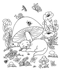 Vector art illustration a kitten asleep in a clearing under fungus. Work done by hand. Book Coloring anti-stress for adults and children. Black and white.