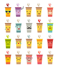 Emoji cup of coffee/tea vector set. Cartoon cute cup of coffee face emoticons. Cup whith funny faces stickers, flat cartoon style. Isolated on white background