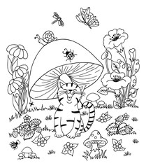 Vector art illustration hilarious kitten sits in a clearing under fungus. Work done by hand. Book Coloring anti-stress for adults and children. Black and white.