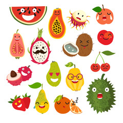 Emoticon vector cartoon fruit. Fruit character illustration. Cute funny stickers. Isolated on white background