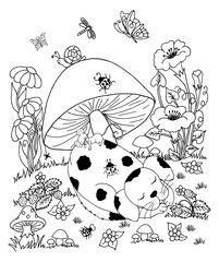 Vector art illustration puppy asleep with a mouse in a clearing under fungus. Work done by hand. Book Coloring anti-stress for adults and children. Black and white.