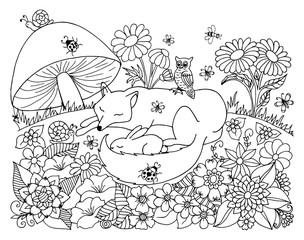 Vector art illustration chanterelle with a hare are sleeping in a clearing under fungus. Work done by hand. Book Coloring anti-stress for adults and children. Black and white.