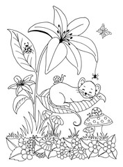 Vector illustration asleep little mouse on a piece of lilies. Work done by hand. Book Coloring anti-stress for adults and children. Black and white.