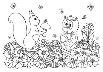 Vector art illustration a squirrel among the flowers gives the mushroom owl. Work done by hand. Book Coloring anti-stress for adults and children. Black and white.