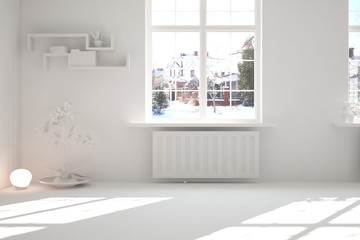 White empty room with winter landscape in window. Scandinavian interior design