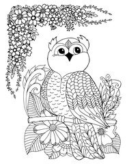 Vector illustration an owl sits tree branch surrounded by flowers. Work done by hand. Book Coloring anti-stress for adults and children. Black and white.