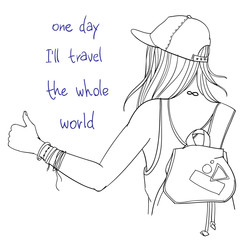 """Vector line art illustration - hitchhiker girl with backpack trying to hitch a lift with thumb up, back view, with words """"one day I'll travel the whole world"""""""