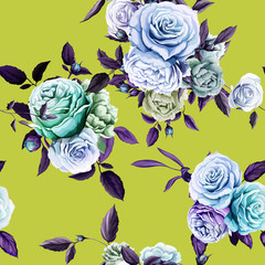 Roses and peony with leaves on green. Hand drawn. Seamless background pattern. Vector - stock.
