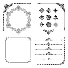 Vintage set of elements. Different elements for decoration and design frames, cards, menus, backgrounds and monograms. Collection of floral ornaments. Black and white colors