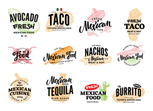 Hand Drawn Mexican Food Logos
