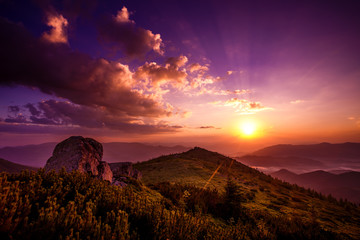 beauty sunset landscape in mountain