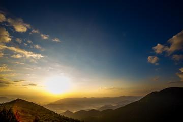 beauty sunset landscape in mountain