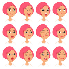 Cute pink-haired girl cartoon character. Set of facial emotions and expressions.