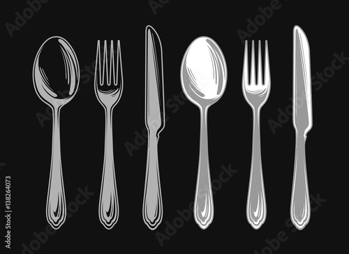 Quot set of fork spoon and knife cutlery tableware elements
