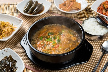 naejang tang. Beef Tripe and Intestine Soup .
