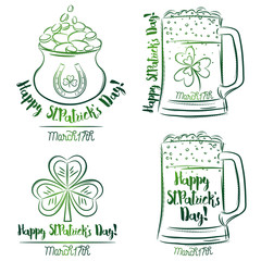 Design  for  St Patricks Day, shamrock, horseshoe, beer mug, golden pot, vector