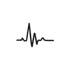 Heart beat cardiogram sketch icon.