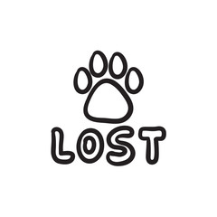 Lost dog sign sketch icon.