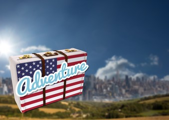 American Flag Luggage against mountain background