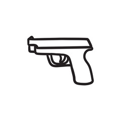 Handgun sketch icon.