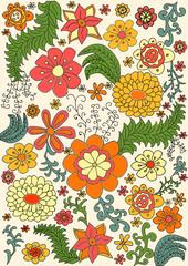 vector floral retro color pattern