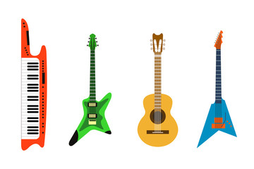 acoustic electric guitar vector icons set isolated illustration guitars silhouette music concert sound fun melody retro musical bass object classic jazz