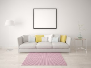Mock up poster with a compact sofa against a white wall.