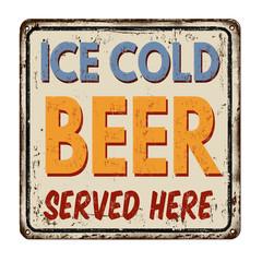 Ice cold beer vintage rusty metal sign