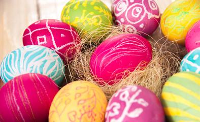 Beautiful colorful egg closeup. A festive mood.