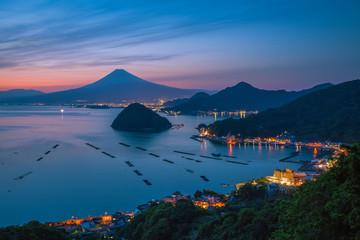 Garden Poster Scandinavia View of Mount Fuji with Suruga bay and Numazu town in twilight time