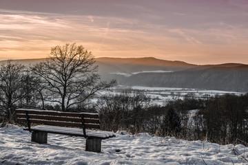 Winter, Landschaft, Sonne, Bank