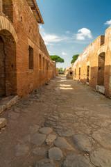 Roman path at Ostia Antica Italy