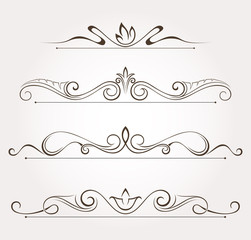 Set of floral design elements and page decoration. Vector illustration