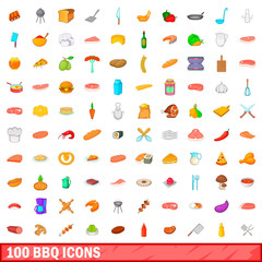 100 barbecue icons set, cartoon style
