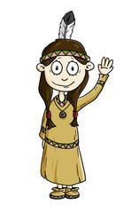 Ausmalbild Indianer Mädchen koloriert