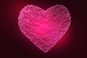 Pink heart of the mesh on a dark background. Vector Illustration