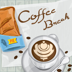 foods objects tuna pie coffee break drawing graphic design template